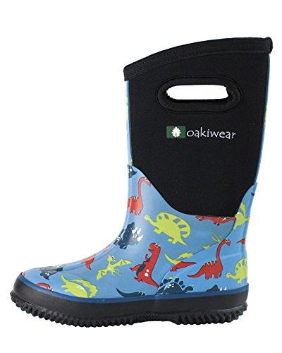 Oakiwear Children's Neoprene Rain Boots, Snow Boots, Muck Rain Boots, Dinosaurs 12T