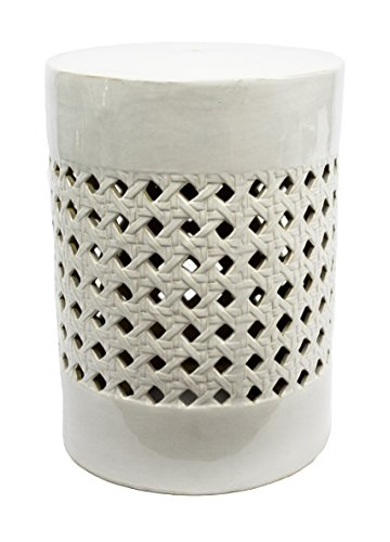 Sagebrook Home FC10448-01 Basketweave Pierced Garden Stool, White Ceramic, 13 x 13 x 17.5 Inches by Sagebrook Home