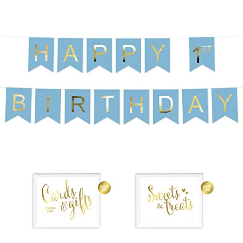 Andaz Press Shiny Gold Foil Paper Pennant Hanging Banner with Gold Party Signs, Boy's Happy 1st Birthday Baby Blue, Pre-Strung, No Assembly Required, 1-Set