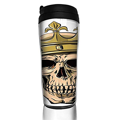 Stainless Steel Insulated Coffee Travel Mug,with Royal Holy Crown Tiara Hand Drawn Image,Goldn,Spill Proof Flip Lid Insulated Coffee cup Keeps Hot or Cold 11.8oz(350 ml) Customizable printing