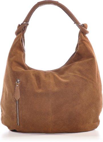 CNTMP, Mesdames sacs à main, sacs hobo, sacs à bandoulière, sac, sacs, sacs à la mode, velours, suède, daim, sac en cuir, A4, 44x36x4cm (L x H x P) Marron - Hellbraun (Tobacco)