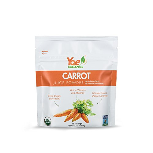 Yae! Organics 3.6oz/10 Servings Carrot Juice Powder, 100% Pure Antioxidants Superfood, Gluten Free, Non-GMO, No Artificial Additives Or Preservatives