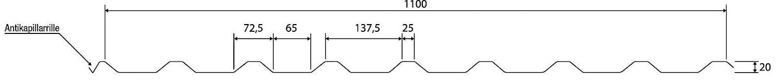 Beschichtung 25 /µm St/ärke 0,40 mm Material Stahl Dachblech Trapezblech Farbe Sepiabraun Profilblech Profil PS20//1100TR