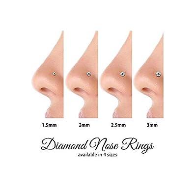 FreshTrends SI1 15mm 015 ct Diamond Platinum Nose Ring L Post 18G