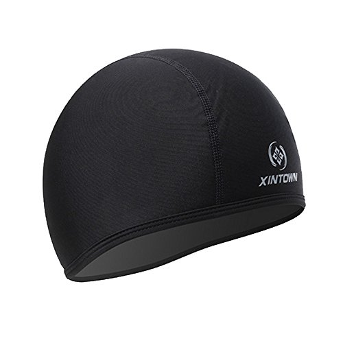 Skull Cap Under Helmet Liner Moisture Wicking For Cycling Motorcycle Running Beanie Black