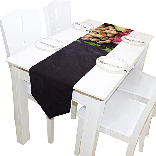 Table Linens Healthy Delicous Vegetable Printed Table Runner Farm Tablecloths for Kitchen Dining Room Living Room Decor Table Covers Table Overlays 13x90 Inch -