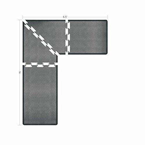 WellnessMats Puzzle Piece Collection 3 Foot Wide L Series Granite Steel Anti-Fatigue 8 x 6.5 Foot Mat