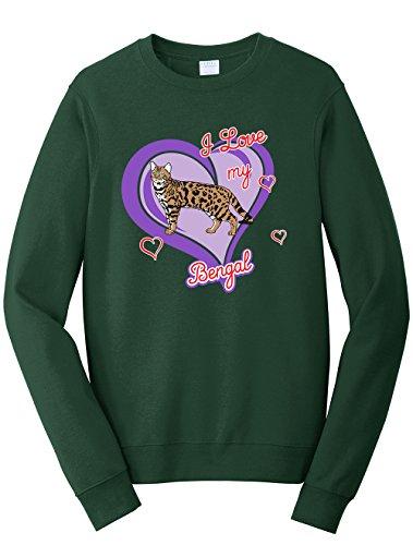 Tenacitee Unisex Bengal Cat Sweatshirt, Large, Forest Green