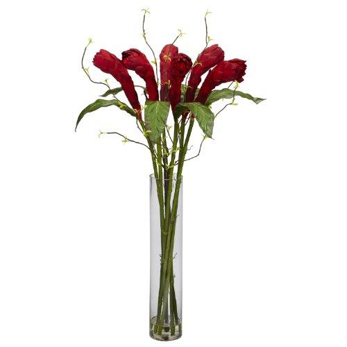 Nearly-Natural-1242-Ginger-with-Cylinder-Vase-Silk-Flower-Arrangement-Red