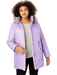 761b98eab35 Women s Plus Size Classic-Length Quilted Parka With Faux-Fur Hood