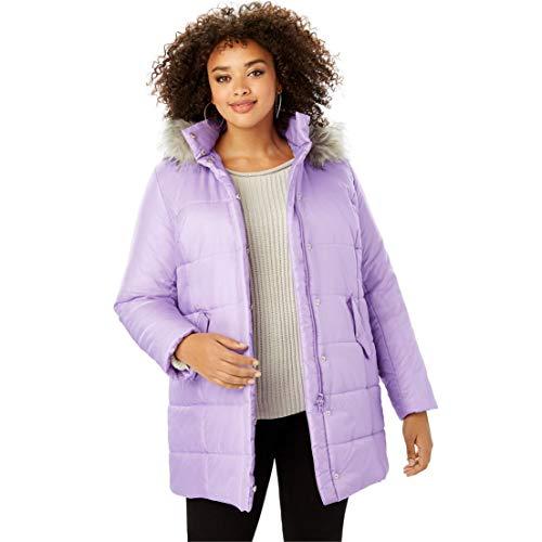 Length Quilted Parka - Roamans Women's Plus Size Classic-Length Quilted Parka with Faux-Fur Hood - Bright Lilac, 4X