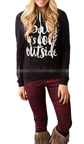 Blouse Black amp;S Hooded Hoodies Print Pullover Letter Long Christmas Women amp;W Sleeve M POnxd7qHwH