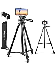 """UBeesize 50"""" Phone Tripod Stand, Aluminium Lightweight Tripod for Camera and Phone, Cell Phone Tripod with Phone Holder and Carry Bag, Compatible with iPhone & Android"""