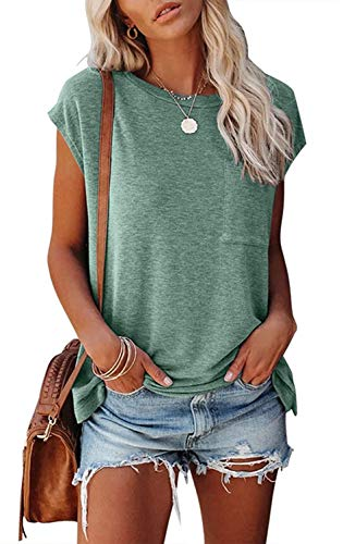 MEROKEETY Women's Casual Cap Sleeve T Shirts Basic Summer Tops Loose Solid Color Blouse with Pocket