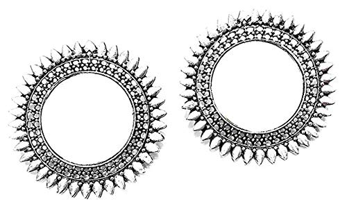 Jewels Kafe German Silver Afgani Tribal Mirror Dangle Earrings for Girls  amp; Women
