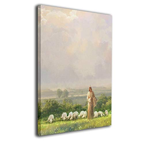 JAWANNA Jesus Walking in A Field Leading A Flock of Sheep Oil Canvas Paintings Framed Wall Art Home Decorative Classical Wall Decorations for Bedroom Ready to Hang (Inner Framed)