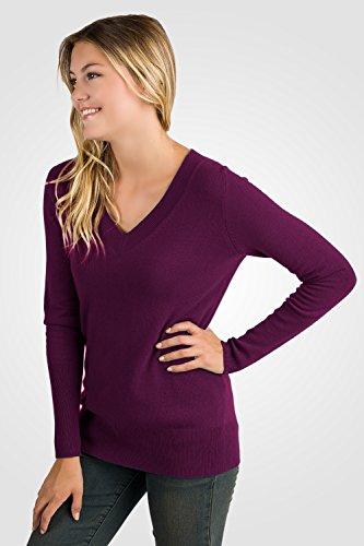 JENNIE LIU Women's 100% Pure Cashmere Long Sleeve Ava V Neck Sweater (M, Plum) by JENNIE LIU (Image #3)