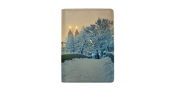New York City Landmark Statue Of Liberty Blocking Print Passport Holder Cover Case Travel Luggage Passport Wallet Card Holder Made With Leather For Men Women Kids Family
