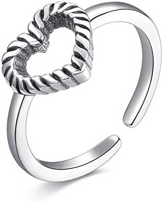 UMODE Jewelry Antique 925 Sterling Silver Weave Rope Love Heart Adjustable Open Ring for Women.