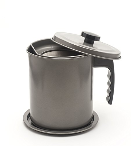 (Large 1.7 Qt (almost 7 full cups) Cooking Oil and Bacon Grease Catcher, Container, and Keeper. Perfect As A Pan Grease Holder, Stainless Steel Mesh Strainer Screen)