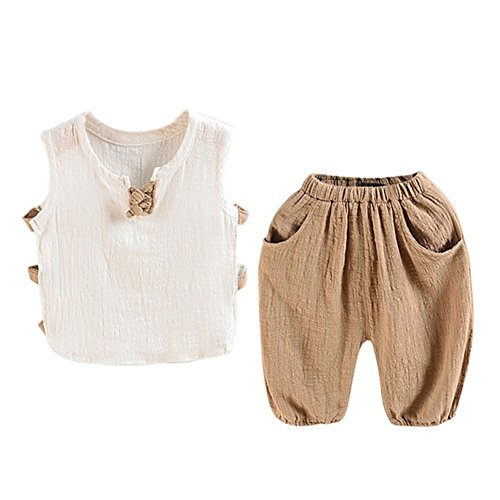 Loveble Vest Top + Short Set Suit Style of Cotton and Linen More Natural & Comfortable-Age:1-5 Years