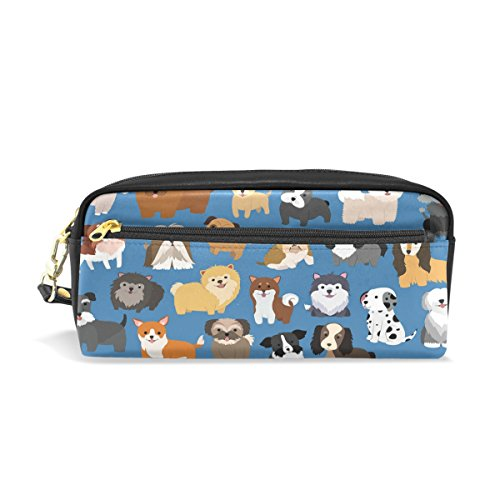 ShineSnow Cute Dog and Puppy Set Student Pen Pencil Case, Cartoon Animal Blue Office Zipper Coin Storage Organizer Purse Pouch Women Cosmetic Makeup Bag by ShineSnow