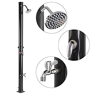 JAXPETY Solar Heated Shower w/Shower Head and Foot Shower 5.3 Gallon Dual-Purpose Outdoor Poolside Beach Pool Spa Backyard Farmyard Shower, Black