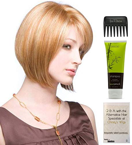 Bundle - 4 items: Codi Monofilament Wig by Amore, Christy's Wigs Q & A Booklet, BeautiMark Synthetic Shampoo & Wide Tooth Comb - Color: HONEY WHEAT