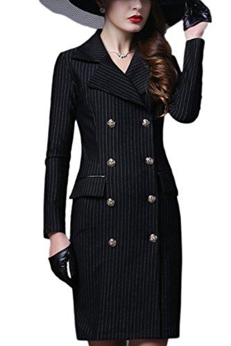 Women Autumn Winter Elegant Double Breasted Midi Slim Business Suit Dress Black S
