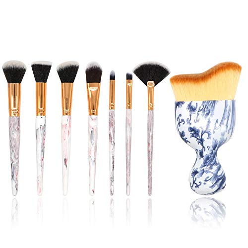 Make Up Brushes 8 Pieces Marble Pattern Professional Makeup Brush Set Kabuki Foundation Blending Concealer Eye Face Liquid Powder Cream Brushes Sets (Color : White, Size : Free -