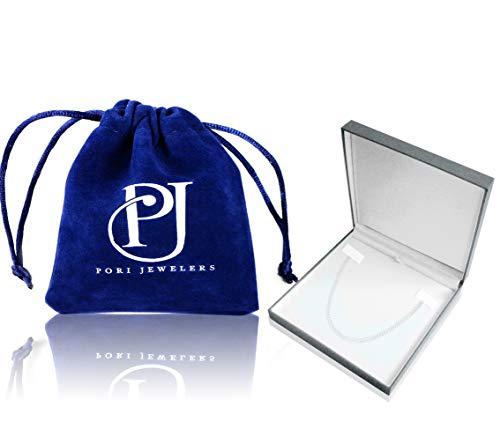 Pori Jewelers Genuine Platinum 950 Solid Diamond Cut Franco/Square Box Chain Necklace -1.0mm (18)