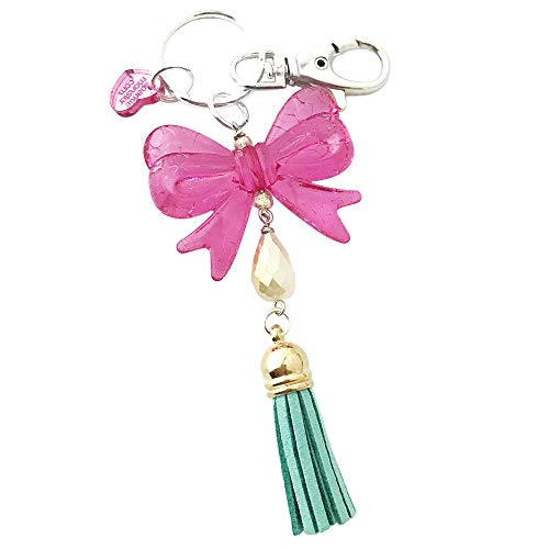 (Large Pink Bow and Turquoise Tassel Keychain with Lobster Claw)