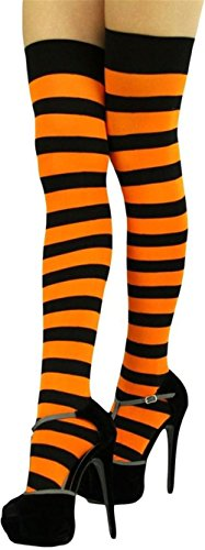 Raylarnia Women's Extra Long Opaque Striped Over Knee High Stockings Socks-Black/Orange Stripes]()