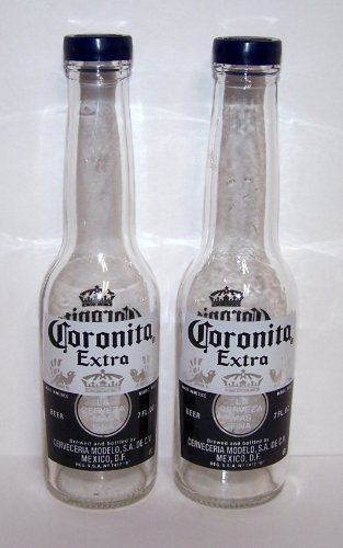 Corona Salt and Pepper Shakers (1 Pair of 7oz Coronita Extra Bottles and Caps) by (Corona Bottle)