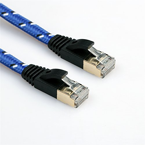 CAT7 Ethernet Cable,Gold Plated Plug CAT7 High Speed Durable Nylon RJ45 Ethernet Cable Blue 3 meters