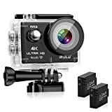 "iRULU Action Camera 4K Sony Sensor 16MP Wi-Fi Sports Camera with 2"" 4X Zoom Underwater Waterproof Camera 170°Wide Angle with 2 Batteries and Abundant Mounting Accessory Kits - Free Carrying Case"