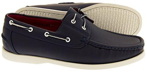 Shoreside Hombre Sintético barco zapato Azul Marino (suela Blanca)