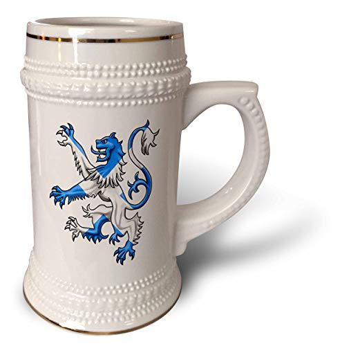 Beer Scottish (3dRose MacDonald Creative Studios – Scotland - Scottish Lion in the colors of the Scotland flag St. Andrews Cross - 22oz Stein Mug (stn_299289_1))