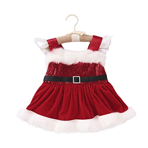 (Bagilaanoe Christmas Newborn Baby Girls Romper Dress Sequin Santa Claus Jumpssuit Bodysuit Costumes 80/3-6)
