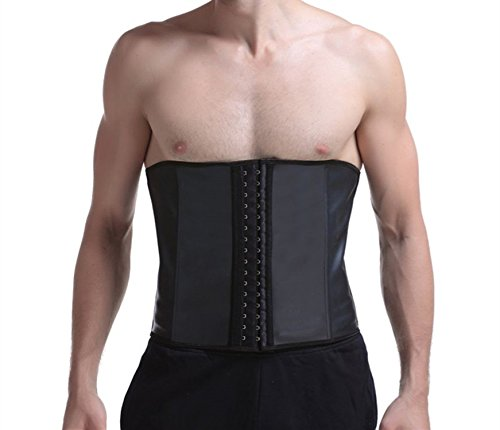 Imurz Men's Tummy Control Steel Boned Waist Trainer Workout Sport Shapewear (Black, M)