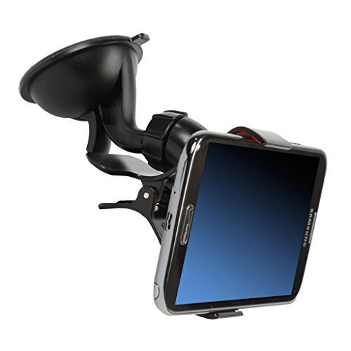 Blacell Universal Car Windshield Mount Holder for iPhone 6 (4.7)/Plus (5.5) /5s/5c, Samsung Galaxy S5/S4/S3/Note 4/3, Google Nexus 5/4, LG G3 (free 360-Degree Rotating Dashboard Disk included) Color 02 Black