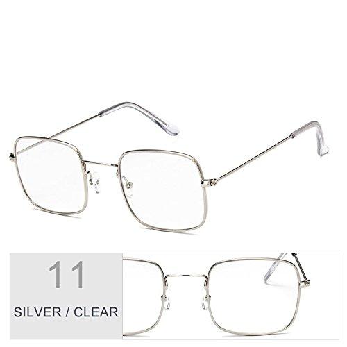 Sol Claro Gafas De Mujer De Clear Gafas Sobredimensionado De Marco Con TIANLIANG04 Metal Plateado Sol Silver xTwO4qE