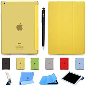 YESOO - iPad Air - HardShell Folio Series Built-In Smart Wake/Sleep Function With PU Leather Flip Stand And Hard Frosted Back Cover (Come With YESOO™ Exclusive 2 In 1 Professionals Stylus Touch / Ballpoint Pen) - YELLOW
