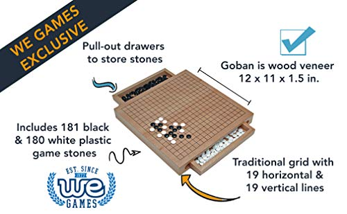 WE Games Wood GO Set with Pull Out Drawers -12 in.