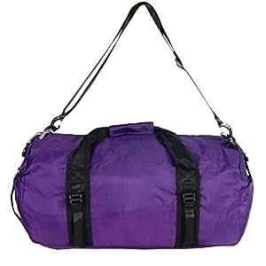 Foldable Travel Luggage Duffle Gym Sport Shoulder Bag Lightweight for Weekend (Purple)
