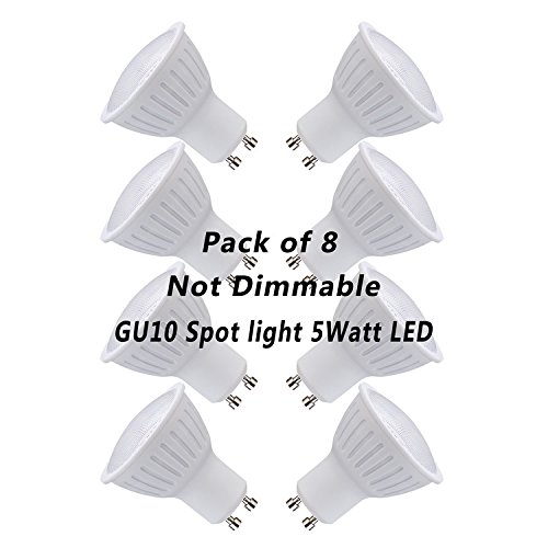 (Pack of 8)GU10 LED Spot lights Reflector,IC Driver,5watt(50W Equivalent Incandescent Bulb) 120V Daylight White 5000K 500Lumen, 120 Degree Beam Angle Not Dimmable