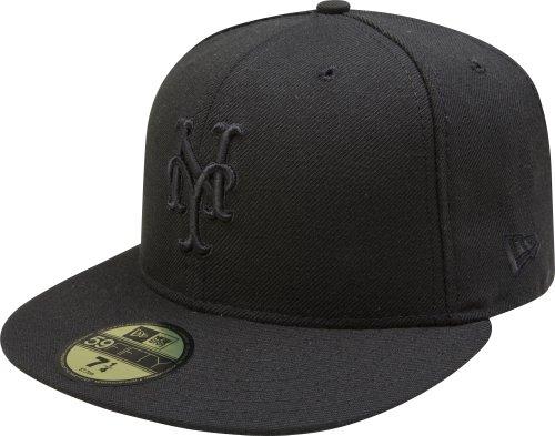 New York Mets Black Wool - MLB New York Mets Black on Black 59FIFTY Fitted Cap, 7 3/4