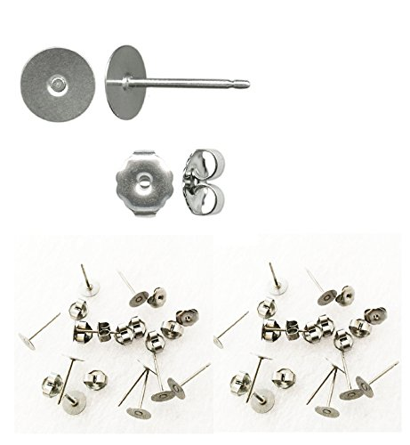 Titanium earring supplies,200 pcs.100 posts w/6mm pad, plus 100 stainless backs,hypoallergenic jewelry