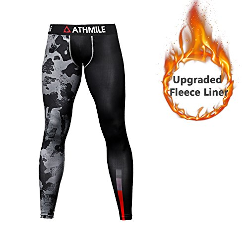 Athmile Men's Sports Warm Fleece Compression Cool Dry Pants Workout Tights Running Base layer Leggings for Hiking,Marathon,Basketball,Exercise and - Summer Colors For Best Skin Tone