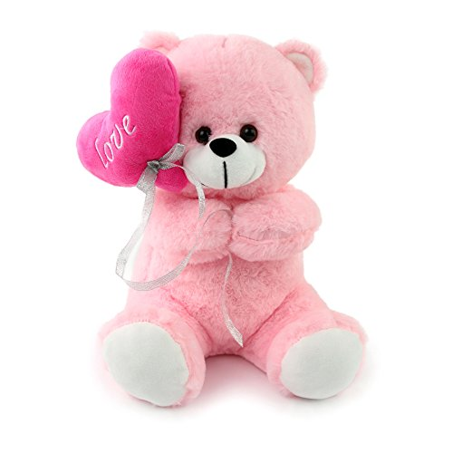 Athoinsu Pink Teddy Bear Stuffed Animals Holding Love Heart Soft Plush Toy Valentine's Day Children's Day Gifts , 12 inch ()